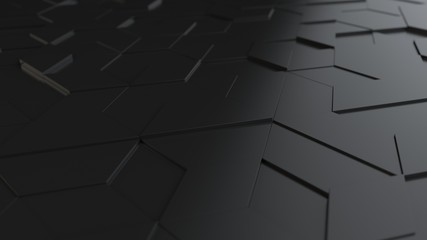Fotobehang - black abstract background with techie hexagons and triangles, 3D rendering, 3d illustration