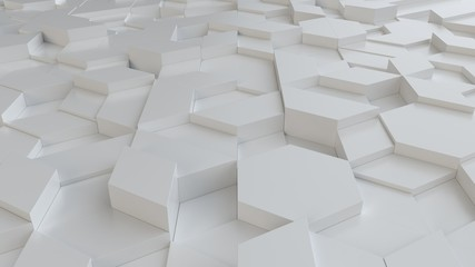 Fotobehang - white abstract background with techie hexagons and triangles, 3D rendering, 3d illustration