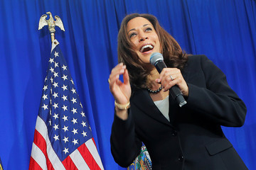 Democratic 2020 U.S. presidential candidate Harris speaks during a campaign stop in Keene