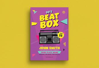 90's Beat Box Music Flyer Layout