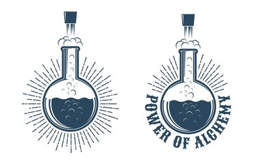 Chemistry retro logo. The chemical reaction in the flask knocks the cork.