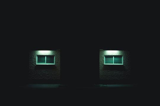 Neon industrial building night