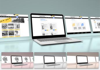 4 Website Pages on  Laptop Mockup