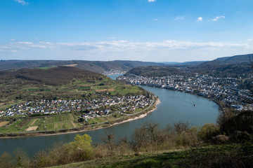 The city of Boppard at the German Rhine area