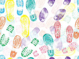 Colorful seamless pattern of shoe prints (footprints). Vector illustration
