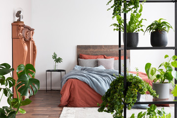 Lots of plants in natural minimalist bedroom with coral and light blue sheets