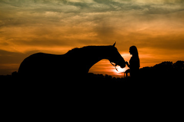 Silhouette of Teenage Girl and Horse Together in a Field at Sunset