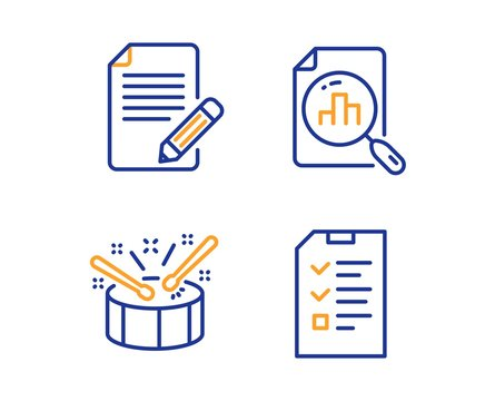 Article, Analytics graph and Drums icons simple set. Interview sign. Feedback, Chart report, Drumsticks. Checklist file. Linear article icon. Colorful design set. Vector