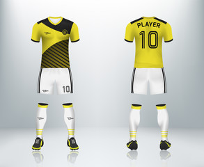 ad1d71f17 3D realistic mock up of front and back of soccer jersey shirt. Concept for  soccer