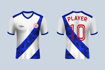 ee778d5b2 3D realistic mock up of front and back of white soccer jersey t-shirt .