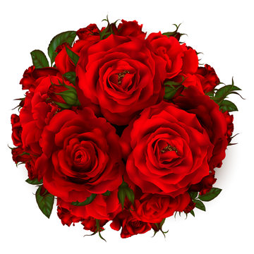beautiful bouquet with red roses and leaves. Floral arrangement.design greeting card and invitation of the wedding, birthday,Valentine's Day, mother's day and other holiday.