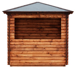 Wooden market stand stall made of natural wooden beams tree hut isolated on white