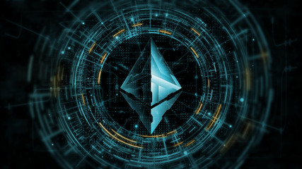 3D Rendering of ethereum coin (ETH) on computer circuit hud. Leading crypto currency using block chain technology for next generation payment. For token exchange promoting, advertising purpose, news