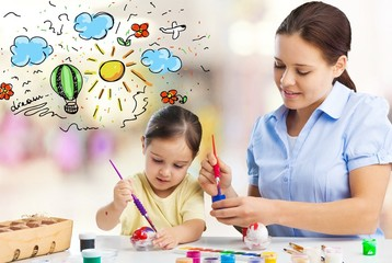 Mother and daughter together paint mom kid parent teacher mother babysitter