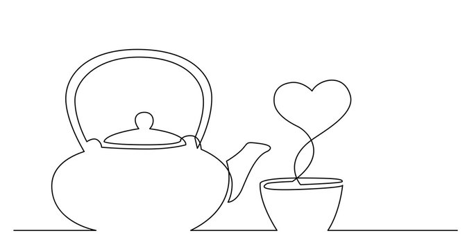 continuous line drawing of tea kettle and cup of tea with heart shape vapor