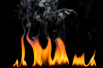 Flame and smoke on a black background