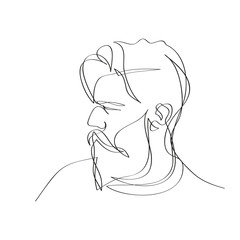 Obraz Mężczyzna z brodą. Szkic jedną linią wektor. - fototapety do salonu