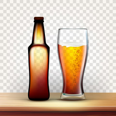 Realistic Bottle And Full Glass Of Red Beer Vector. Container For Foamy Lager Beverage And Goblet On Wooden Table. Mockup Blank Sticker. Image Isolated On Transparency Grid Background. 3d Illustration