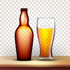 Bottle Of Beer And Glass With Frothy Drink Vector. Realistic Blank Brown Closed Flask And Bubble Light Beer On Wooden Shelf Image Isolated On Transparency Grid Background. 3d Illustration
