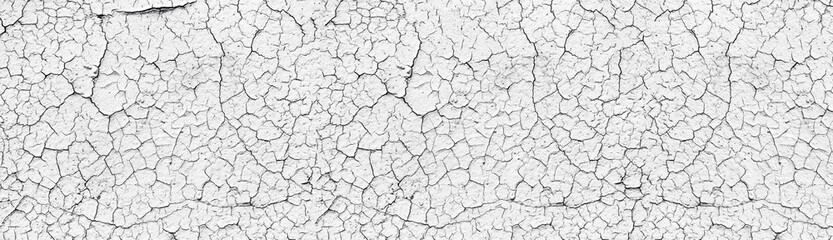 Obraz White cracked weathered concrete wall wide texture. Old cement light surface panorama. Retro panoramic background - fototapety do salonu