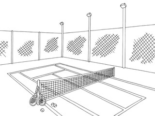 Tennis court sport graphic black white sketch illustration vector