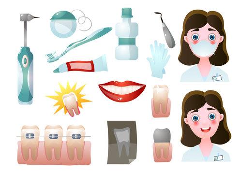 Set of modern stomatology icons or dentis doctor tools
