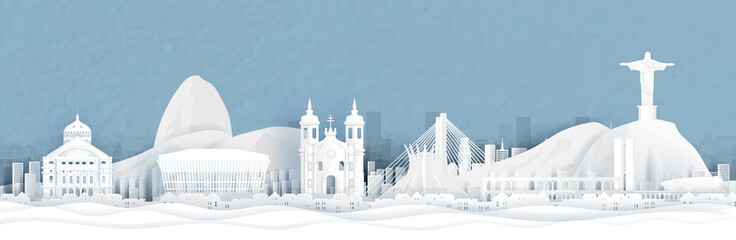 Fototapete - Panorama view of Rio de Janeiro, Brazil city skyline in paper cut style vector illustration