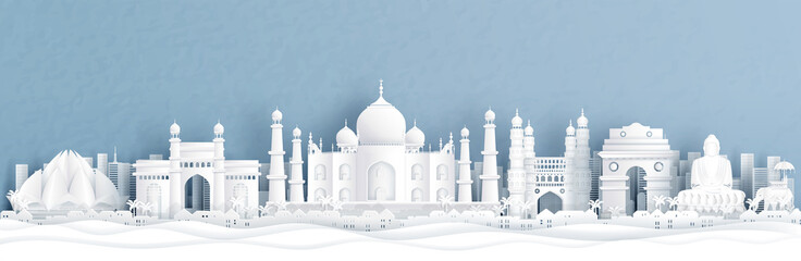 Fototapete - Panorama view of India with Taj Mahal and skyline with world famous landmarks in paper cut style vector illustration