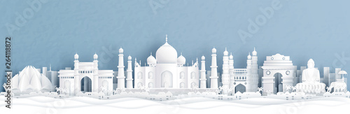 Fototapete Panorama view of India with Taj Mahal and skyline with world famous landmarks in paper cut style vector illustration