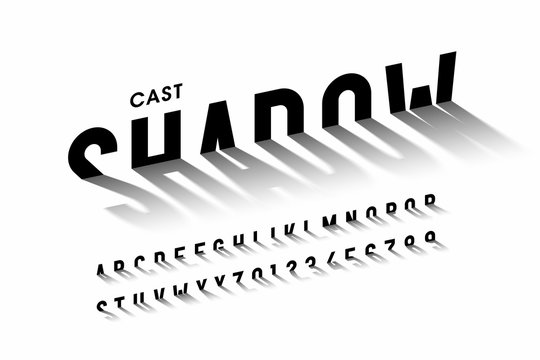 Cast shadow font, alphabet letters and numbers