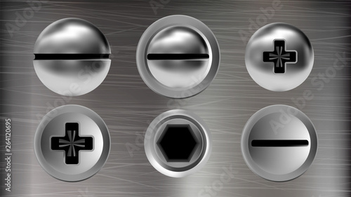 Several Metal Screws And Heads Of Bolts Set Vector