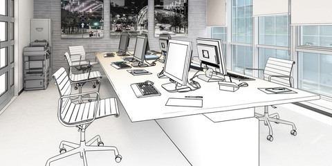 Common Computer Workplace Design (panoramic drawing) - 3d illustration