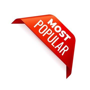 Red Vector Banner Ribbon on white background, corner ribbon.
