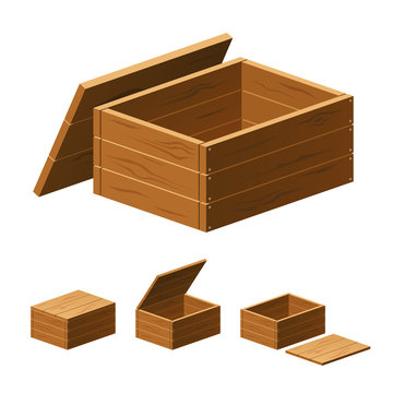 A set of wooden boxes with lids isolated on white background. Vector cartoon close-up illustration.