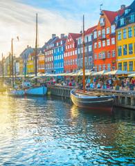 Nyhavn view people sunset Copenhagen