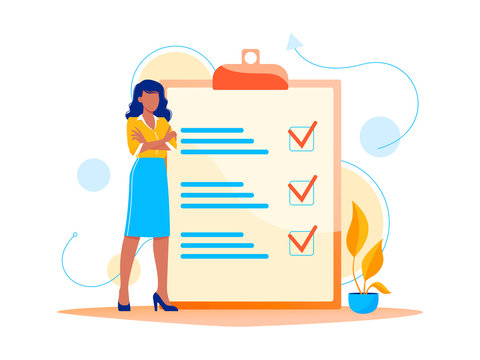 Month planning, to do list, time management. Woman is standing near large to do list. Plan fulfilled, task completed. Flat concept vector illustration, isolated on white.