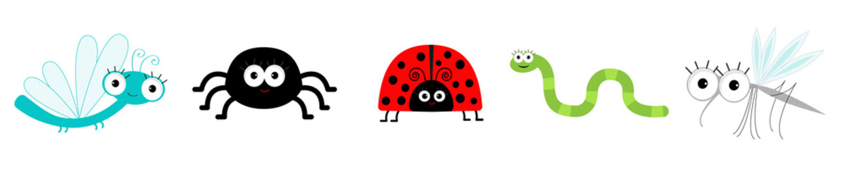 Insect set line. Ladybug, dragonfly, mosquito, spider and worm. Cute cartoon kawaii funny character. Flat design. White background. Isolated.