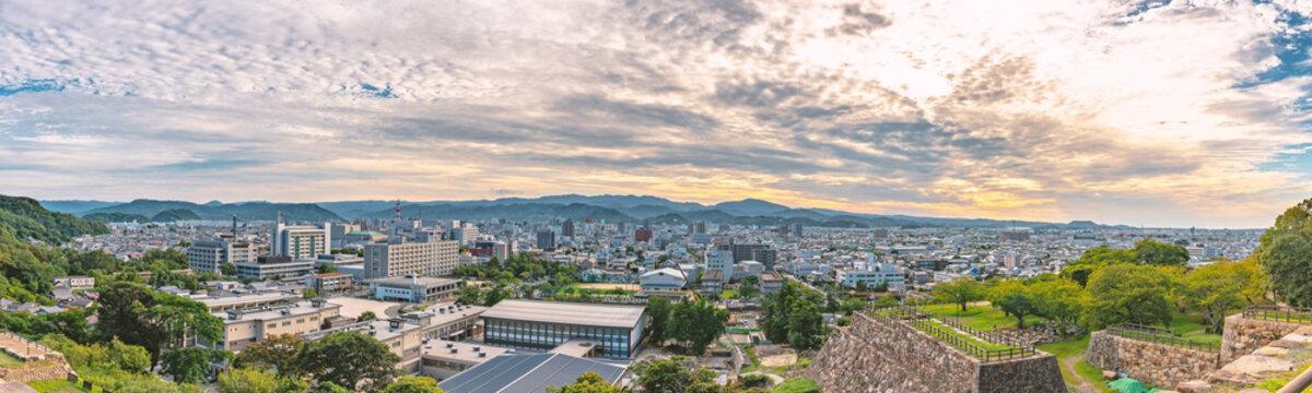 鳥取城から市街地の展望