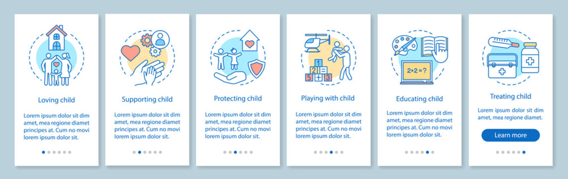 Child custody onboarding mobile app page screen