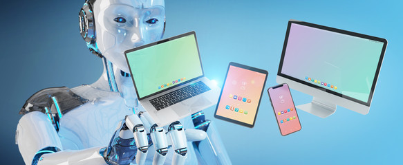 White robot connecting modern smartphone tablet laptop and computer 3D rendering