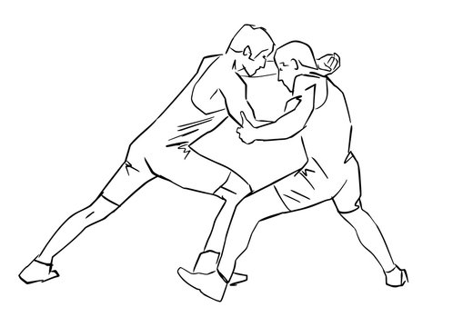 Greco-Roman wrestling. Black isolated contour. Fight of two wrestlers. Outlines of athletes in active poses. Sports competition or training. Vector silhouettes.