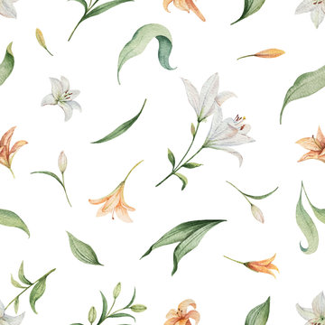 Watercolor vector seamless pattern of Lily flowers and green leaves.