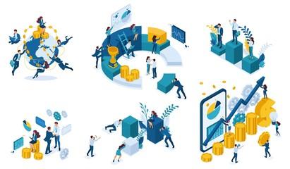 Fototapeta Isometric Business Concept Planning, Data Analysis obraz