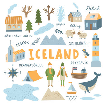 Iceland icons and illustrations set on white background. Travel destination symbols for Iceland with nature elements, people, architecture and animals