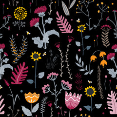 Wall Mural - Vector nature seamless background with hand drawn wild herbs, flowers and leaves on black. Doodle style floral illustration