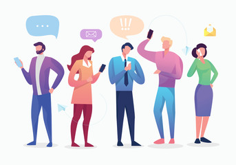 Social Network. Group of Young People Characters Chatting Using Smartphone for Website or Web Page. Virtual Communication Concept. Vector illustration