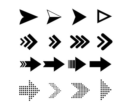 Arow icons set. Arrows vector collection with elegant style and black color.