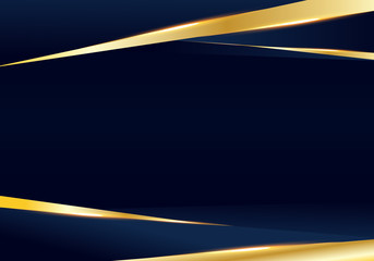 Abstract template dark blue and golden luxury premium background with luxury triangles pattern and gold lighting lines.