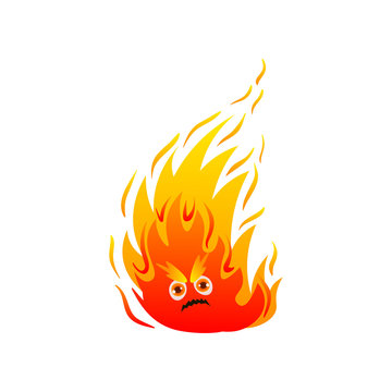 Hot fire monster with cute eyes and long flame