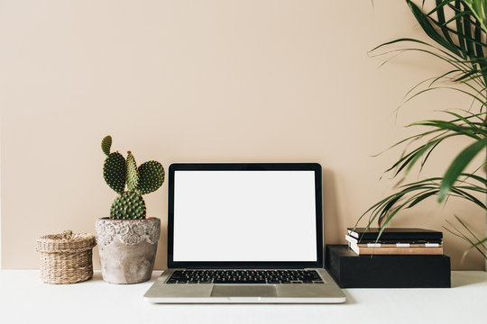 Minimalist home office desk workspace with laptop, cactus, palm on beige background. Front view copy space blank mock up. Freelancer business template.